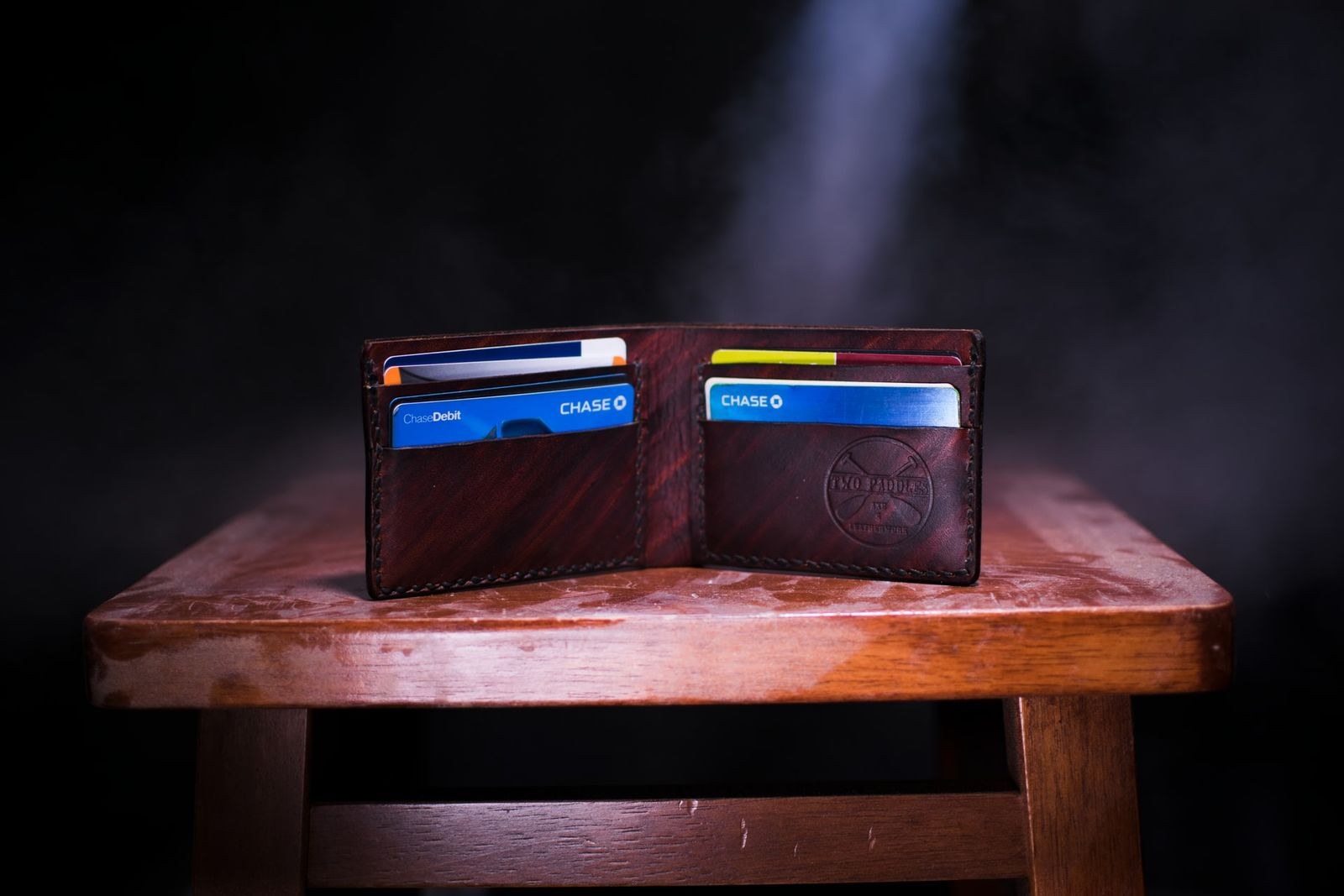 brown wallet multiple credit cards